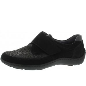 1d6151ba58ef Details about Waldlaufer 496H31 Black Leather Nubuck Combi Wide Fitting Stretchable  Shoes