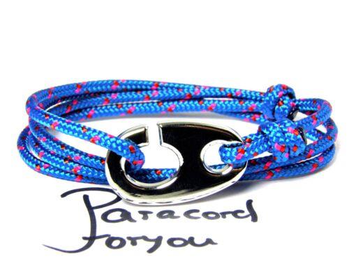 Pulsera maritimes-segeltau-unisex-pulsera de estilo surfista-lindo hakenverschluß-azul