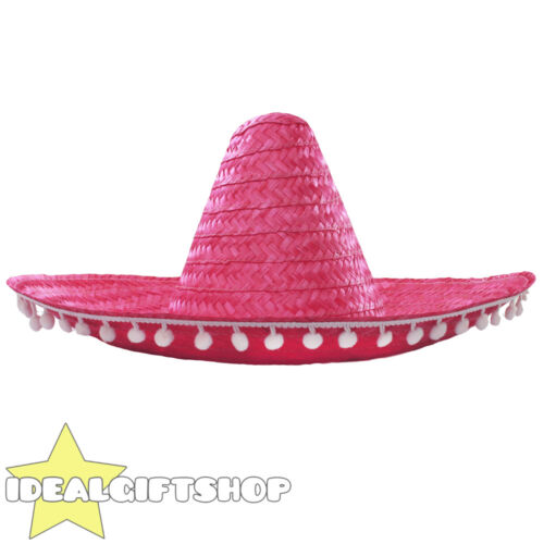PINK SOMBRERO PACK WITH POM POM EDGE WHOLESALE LOT MEXICAN WESTERN