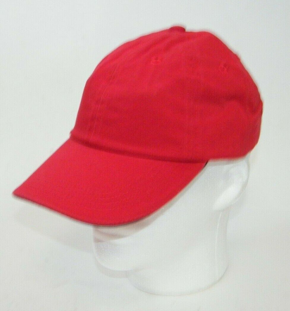 (12) PORT AUTHORITY RED WITH BLACK STRIPE CLOSURE C830 SANDWICH BILL CAPS HATS