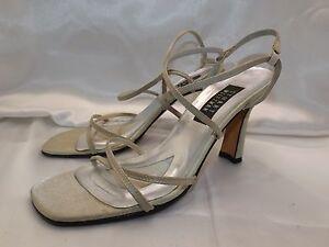 3972cb5a235 Stuart Weitzman Gold Satin Strappy Heels 4 inch size 9 B Evening