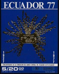 Ecuador-Foglia-Block-35-1977-50-Fondozione-Banco-Central-MNH