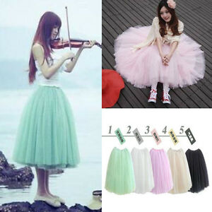 Women-Girls-Sweet-5-Layers-Tutu-Skirt-Princess-Petticoat-Ballet-Tulle-Long-Dress