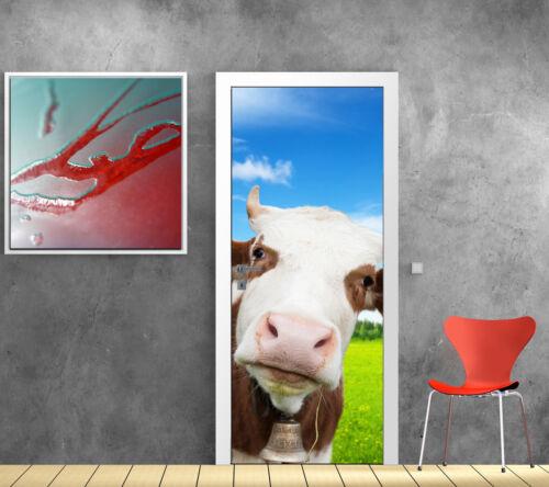 Stickers pour porte trompe l/'oeil déco Vache réf 779