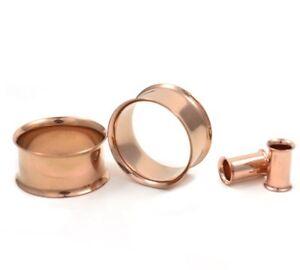 PVD Ear Gauges Flesh Ear TunnelsRose Gold PVD Double Flare Tunnel