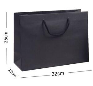 noir-recycle-Paysage-boutique-magasin-Sac-cadeau-solide-Corde-anse-sac
