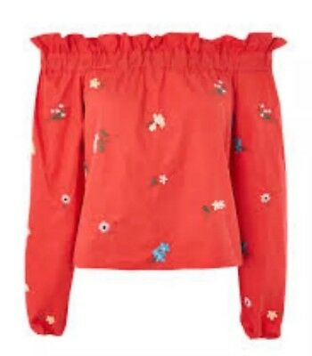 9bd5bafe47d74 Topshop Embroidered Bardot Top Size 6 Red Floral Frill Neck Long Sleeve  Cotton