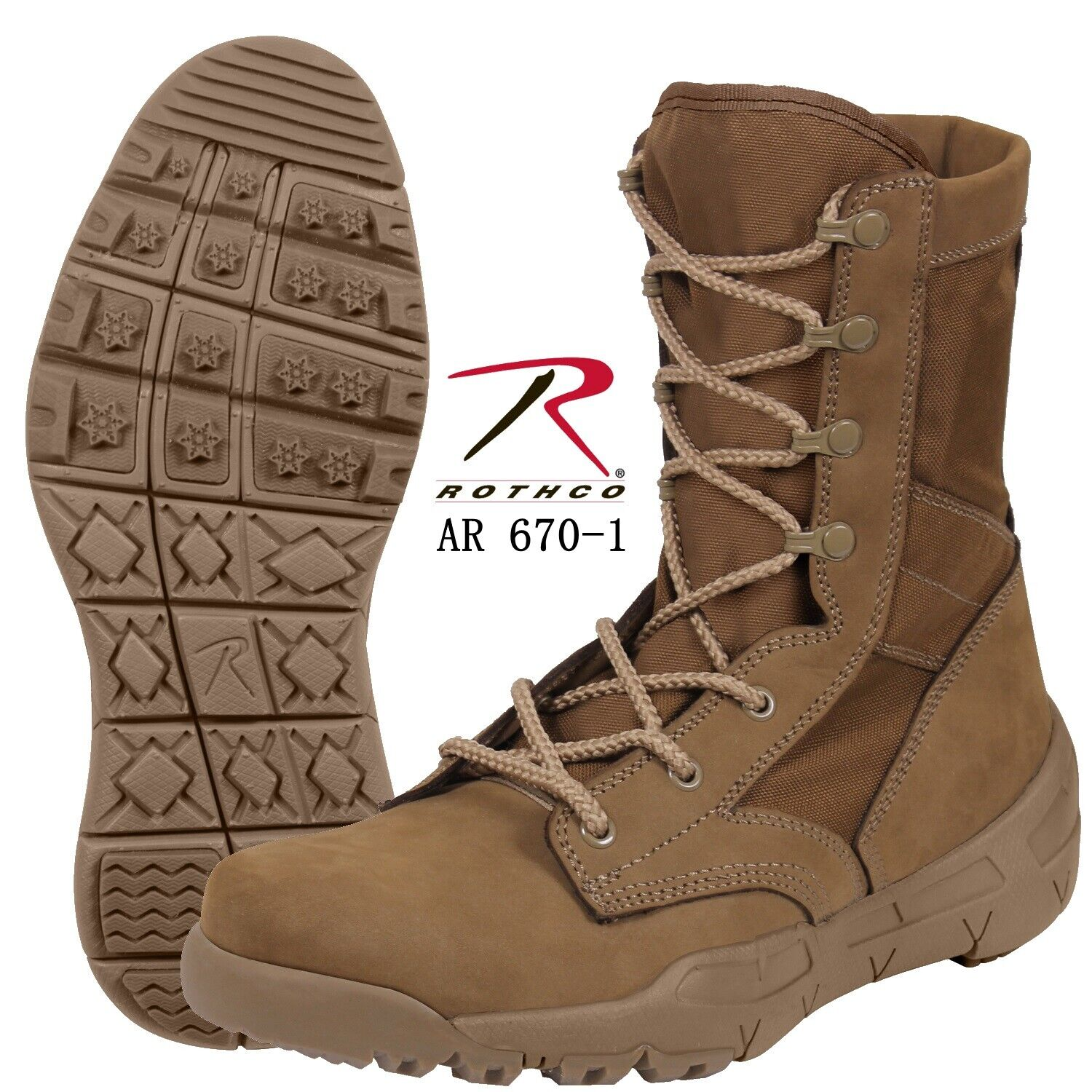redHCO V-MAX LIGHTWEIGHT TACTICAL BOOT AR 670-1 COYOTE