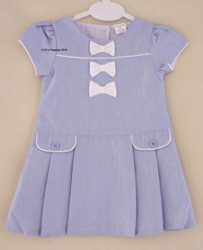 BABY GIRLS SPANISH STYLE BLUE WHITE DROPWAIST DRESS 3 6 12 Months Long Fitting
