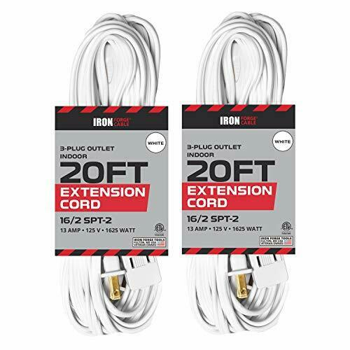 20 Ft White Extension Cord 2 Pack 16//2 Durable Electrical Cable
