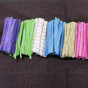 100pcs Multi Color Wire Free Twist Ties For for Wedding Bakery Cello Bags G