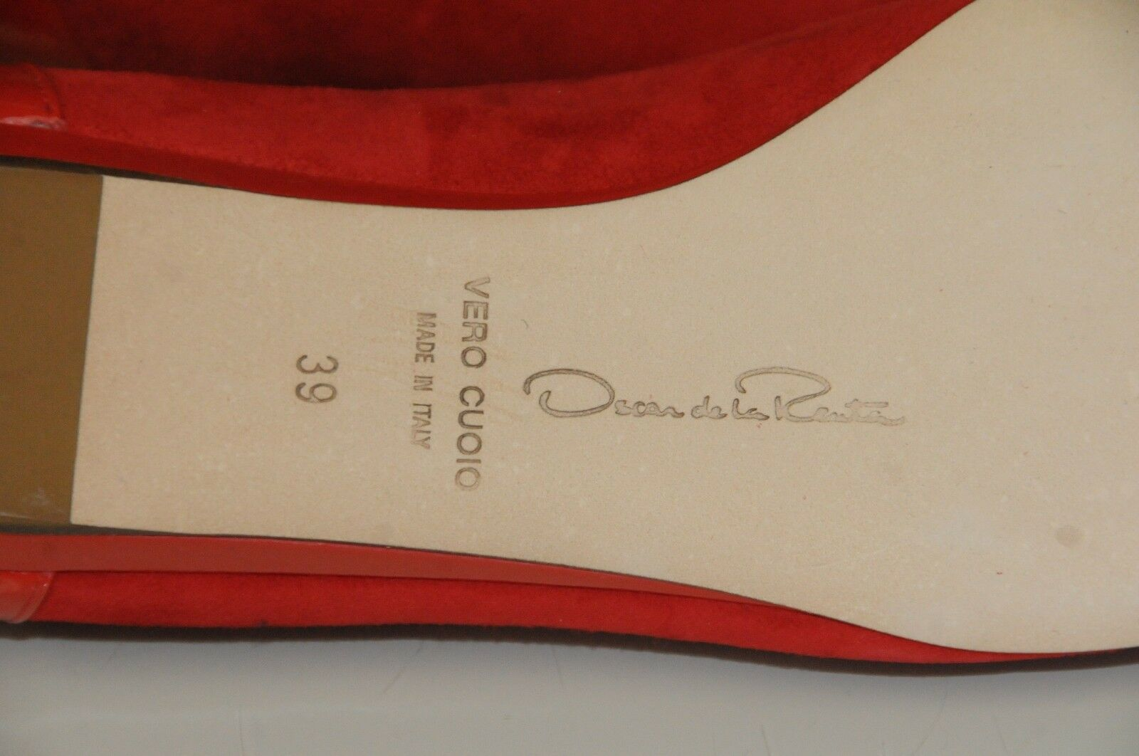 785 NEW Oscar De La Renta Red Red Red Suede Patent Leather Circle Flats Ballet shoes 39 06349d