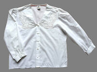 Women's Vintage Cotton Blouse Retro Boho Folk 18 - 20