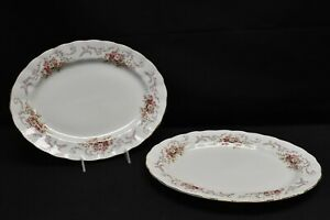 Paragon-Rose-Bouquet-Pink-Pair-of-Oval-Serving-Platters