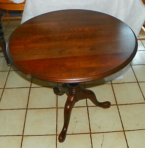 Image Is Loading Solid Cherry Ethan Allen Tilt Top Swivel Top