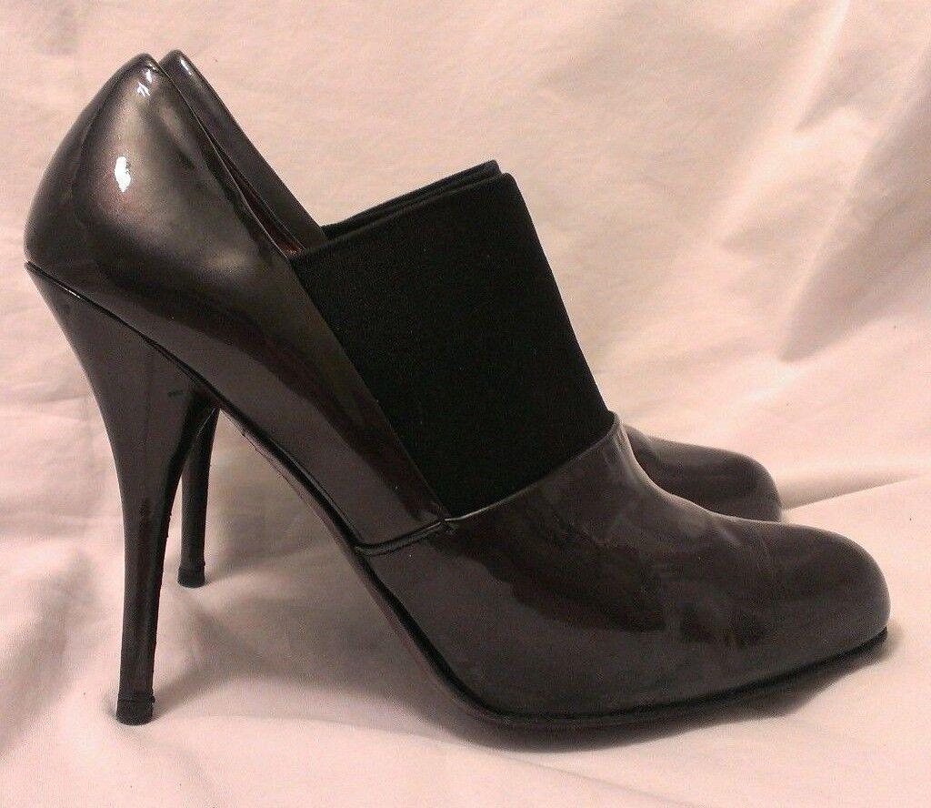 Miu Miu Gunmetal Patent Leather Rounded Toe Fierce Fierce Fierce Booties High Heels 37 US 7 167dc3