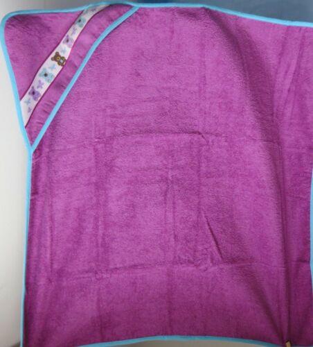 Kapuzenbadetuch * Babyhandtuch * Motiv Bär - lila * 90 x 90 cm