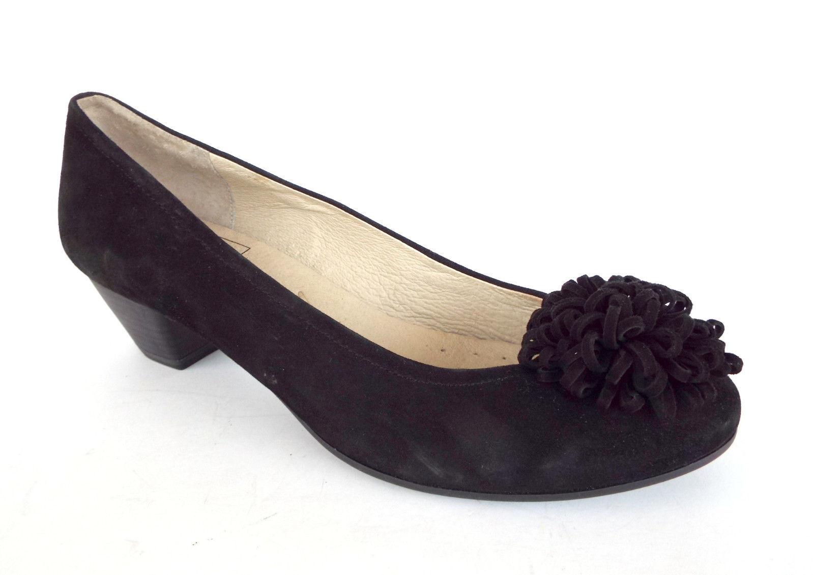 New CAPRICE Size 7 Black Heels Suede Pom Pom Heels Black Pumps Shoes 217951