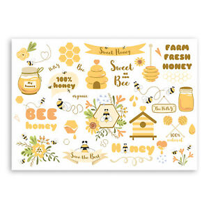 1 x A4 Bumble Bee Vinyl Sticker - Honey Bees Nature Sweet Cute Hive Fun #29186