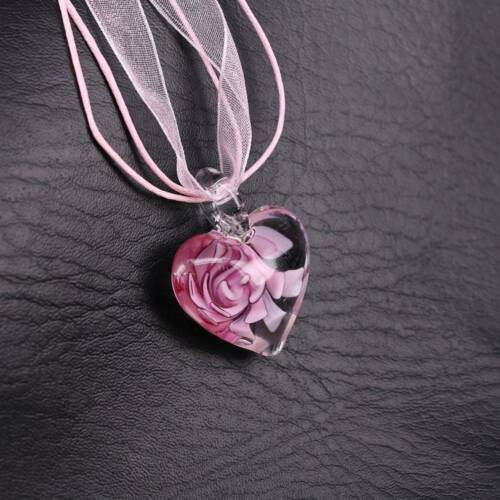 Murano Glass  Heart Spiral Flower Inlaid Pendant 28mm Ribbon Necklace Jewelry