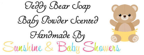 TEDDY BEAR FACES SOAPS 5 PACK Baby Shower Gift Party Bag Favours Baby Powder