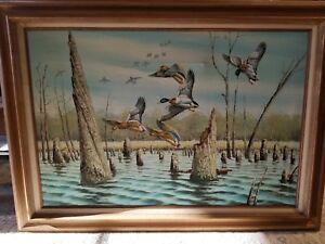 B-Grant-Oil-Painting-Original-Art-on-Canvas-24-x-36-Mallard-Ducks-Water-Cypress