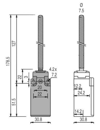 Positionsschalter Positionstaster Endschalter Endtaster Feder Stange Tor Antrieb