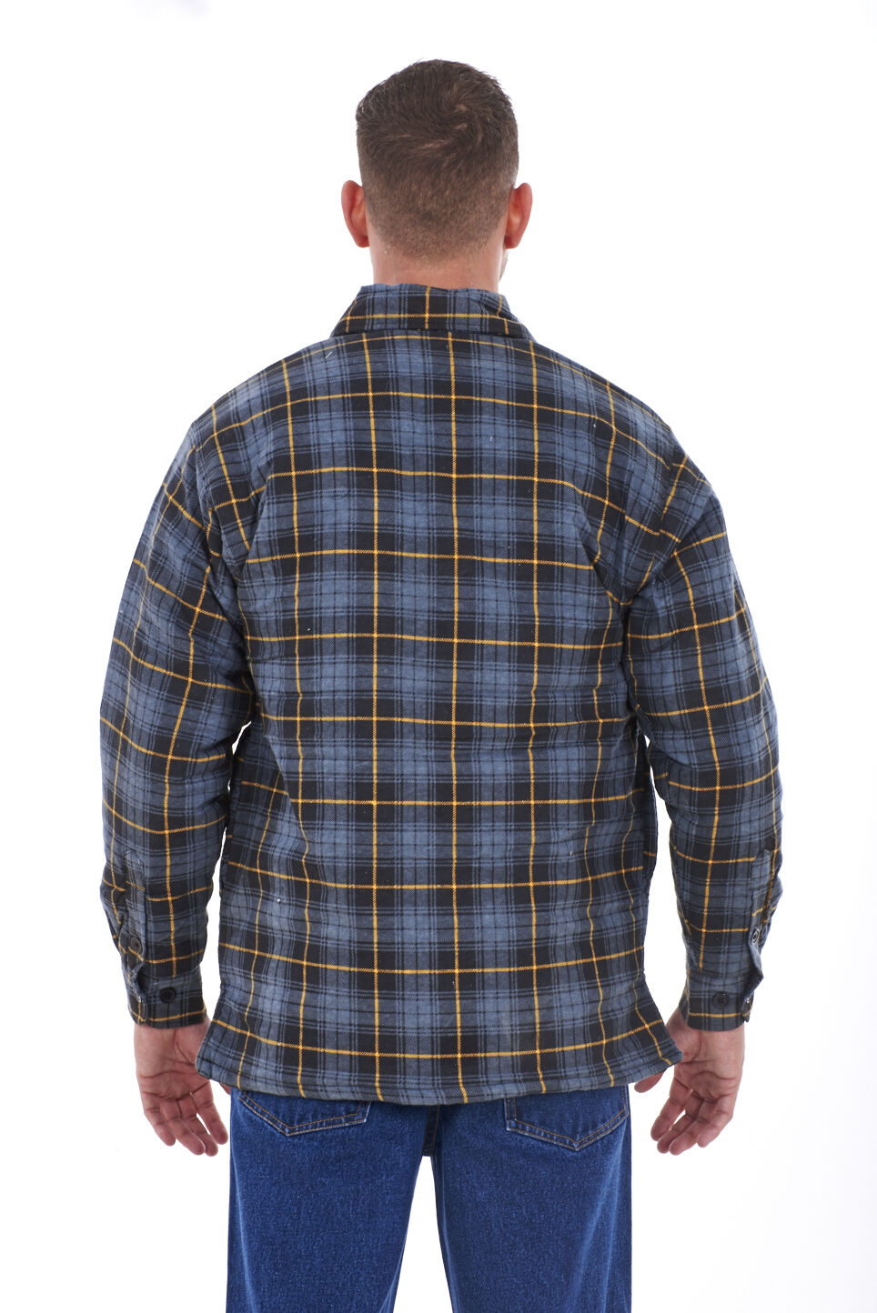 Men s big sizes lined padded quilted full sleeve for Mens padded lumberjack shirt