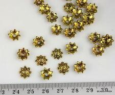 B016 Dark / antique gold flower star bead caps - 60g x 120 pieces - 8x6mm