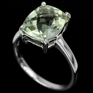 Ring-Green-Amethyst-Sterling-Silver-Genuine-Natural-Solitaire-Size-R-1-2-US-9