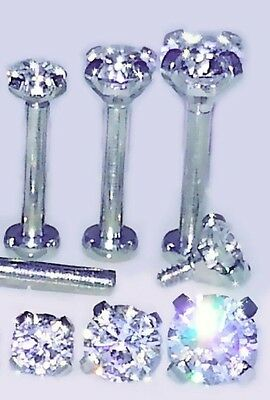 18g 2.5,3 or 4mm ~PRONG SET CZ GEM~ Cartilage Tragus TRIPLE FORWARD HELIX Stud