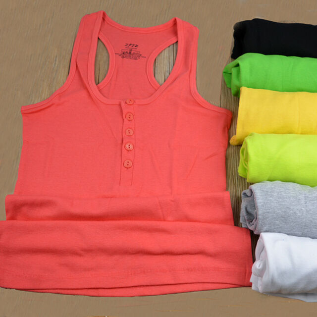 Women's Candy Color Button Sleeveless U Vest Tank Tops Casual T-shirts