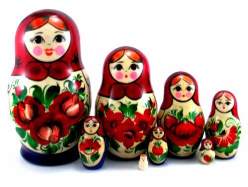 Nesting Dolls Russian Matryoshka Traditional Babushka Stacking Wooden New set 8