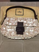 Original Fendi Mother of Pearl and Crocodile Vintage Baguette Shoulder Bag