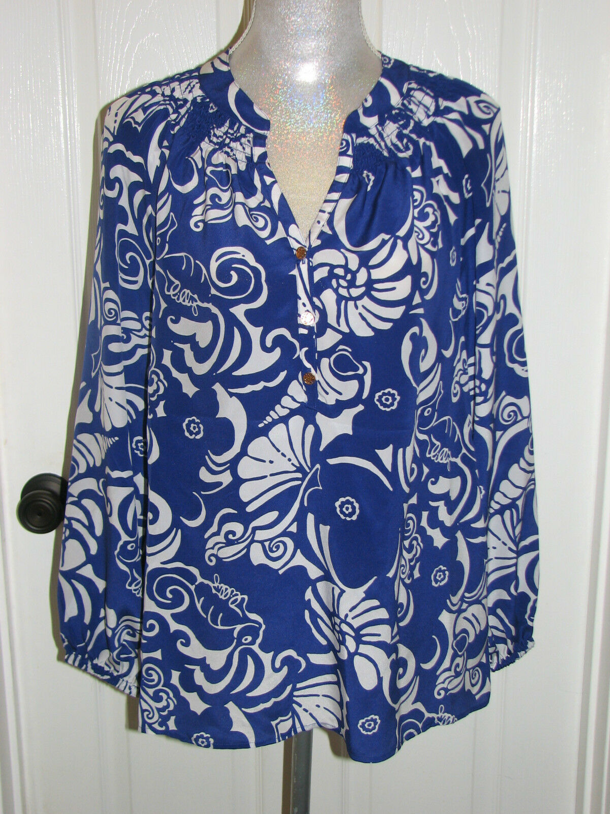 NWT LILLY PULITZER M ELSA SILK BLOUSE SPECTRUM Blau TIDE POOLS