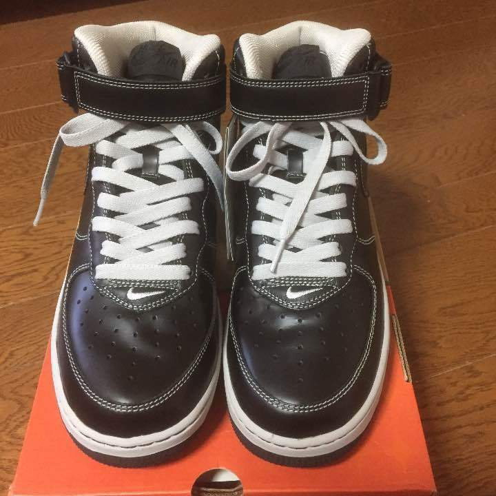 Air Force 1 MID black ash leather rare model from japan (5742