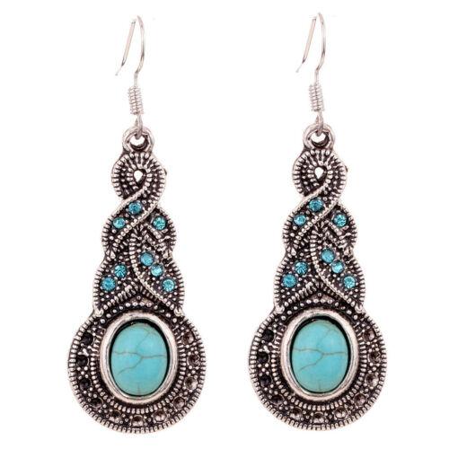 Fashion Womens Natural Turquoise tibet silver hook earrings dangle Earrings