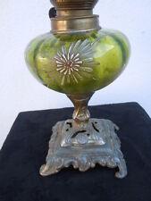 Lampe pétrole verre décor fleurs émaillées vers 1920 style Legras