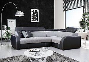 ecksofa grau eckcouch mit schlaffunktion und bettkasten wohnlandschaft houston ebay. Black Bedroom Furniture Sets. Home Design Ideas