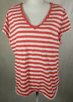 NEW NWT Womens GAP 100/% Cotton V-Neck Easy Tee T-Shirt Pink Striped $19 *7K