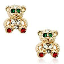 Cute childrens kids teddy bear stud earrings gold quality jewellery UK seller