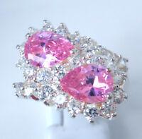 Gorgeous Pink /white Topaz Ring Uk Size s Us 10