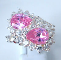 Gorgeous Pink /white Topaz Ring Uk Size s Us 10