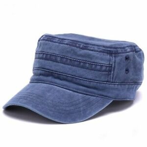 Washed-Cotton-Flat-Top-Army-Hat-Fitted-Military-Cap-Adjustable-Men-Women-Outdoor