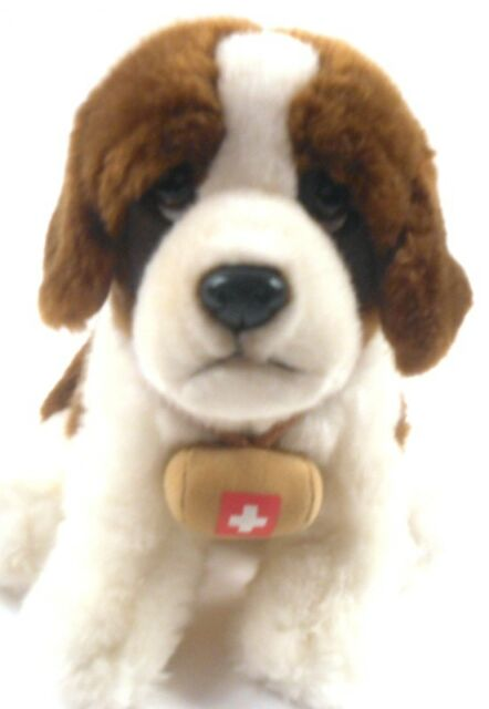 "15"" Toys R Us St. Bernard Plush Brown White 2015 Puppy Dog with Barrel"