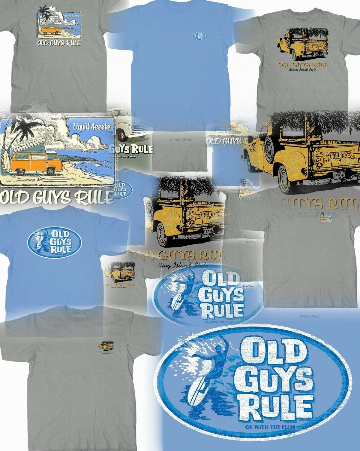 3 OLD GUYS RULE SURF THEMED T-SHIRTS SURFBOARD FIN SIZE- L YOU GET ALL THREE