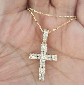 Women-14k-Yellow-Gold-Finish-Round-Diamond-Cross-Pendant-Necklace