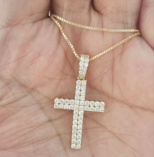 Women 14k Yellow Gold Finish Round Diamond Cross Pendant Necklace