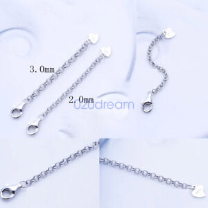 Sterling-Silver-Safety-Chain-Extender-Necklace-Bracelet-Extension-Clip-on-Clasp