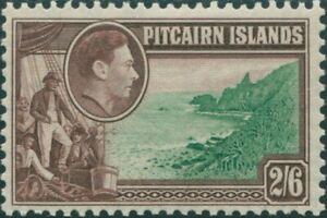Pitcairn-Islands-1940-SG8-2-6d-Christian-crew-and-coast-MLH